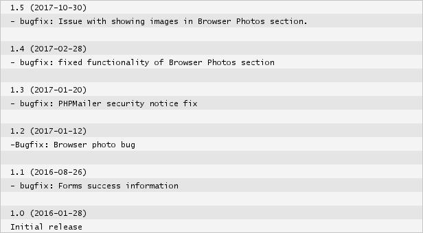 shot html portfolio changelog